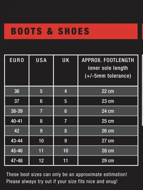 ION boots and shoes size guide